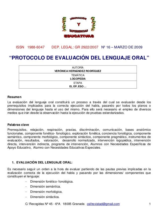 """ISSN 1988-6047             DEP. LEGAL: GR 2922/2007 Nº 16 – MARZO DE 2009 """"PROTOCOLO DE EVALUACIÓN DEL LENGUAJE ORAL""""     ..."""