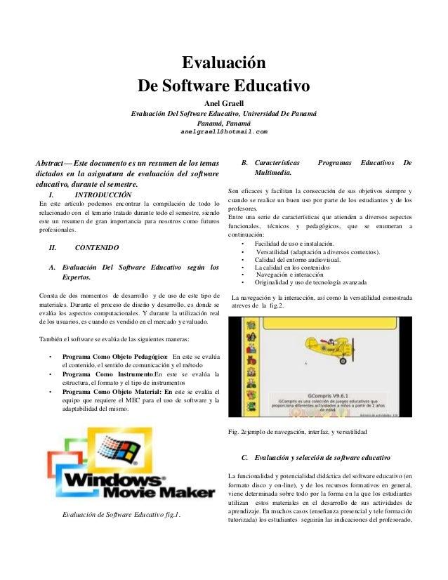 Evaluación De Software Educativo Anel Graell Evaluación Del Software Educativo, Universidad De Panamá Panamá, Panamá anelg...