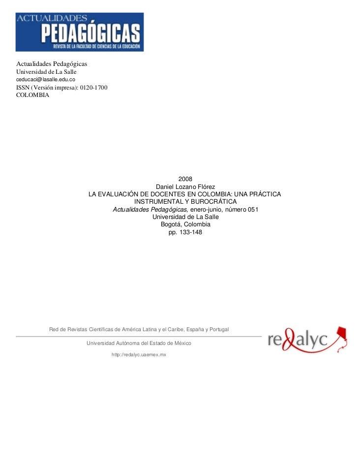 Actualidades PedagógicasUniversidad de La Salleceducaci@lasalle.edu.coISSN (Versión impresa): 0120-1700COLOMBIA           ...