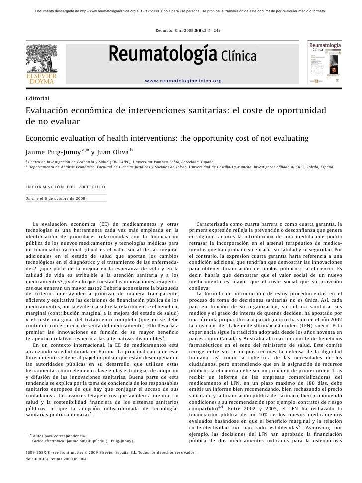 Evaluacio ́n econo ́mica de intervenciones sanitarias  el coste de oportunidad de no evaluar