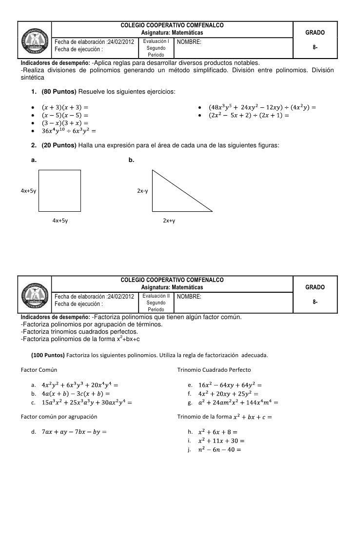 COLEGIO COOPERATIVO COMFENALCO                                             Asignatura: Matemáticas                        ...