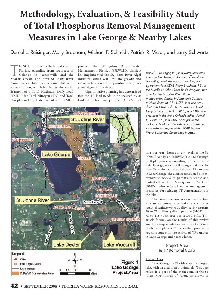 Methodology, Evaluation, & Feasibility Study        of Total Phosphorus Removal Management         Measures in Lake George...
