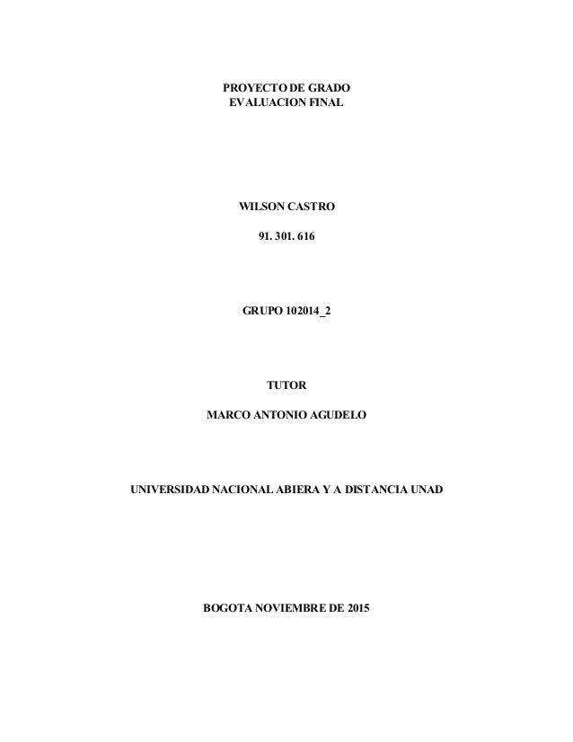 PROYECTO DE GRADO EVALUACION FINAL WILSON CASTRO 91. 301. 616 GRUPO 102014_2 TUTOR MARCO ANTONIO AGUDELO UNIVERSIDAD NACIO...