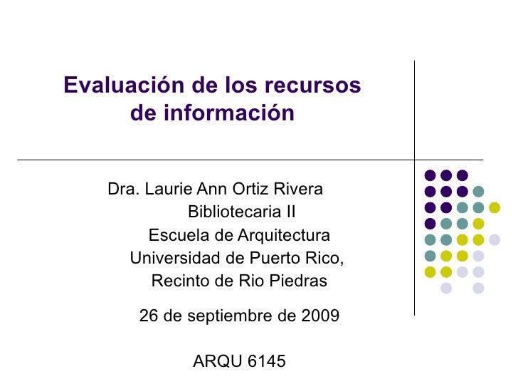 Evaluación de la información