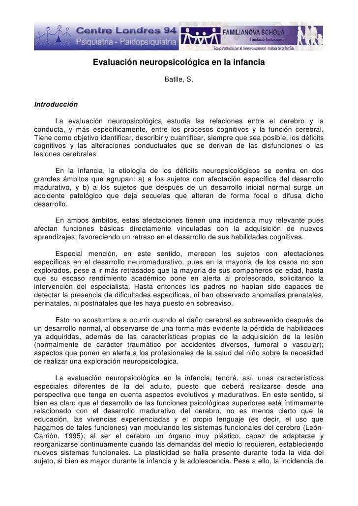 Evaluación neuropsicológica en la infancia                                          Batlle, S.Introducción       La evalua...
