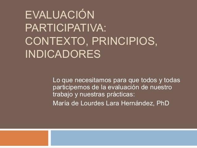 Evaluación participativa  contexto y principios