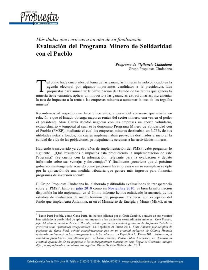 Evaluación del Programa Minero de Solidaridad  con el Pueblo