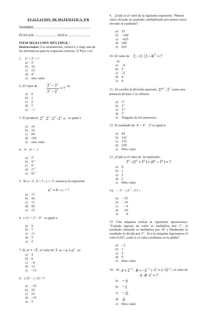 """9. ¿Cuál es el valor de la siguiente expresión: """"Menos       EVALUACION DE MATEMÁTICA 8°B                                 ..."""