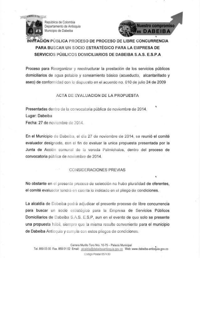 República de Colombia Departamento de Antioquia Municipio de Dabeiba        AEIÓN PÚBLICA PROCESO DE PROCESO DE LIBRE CONC...