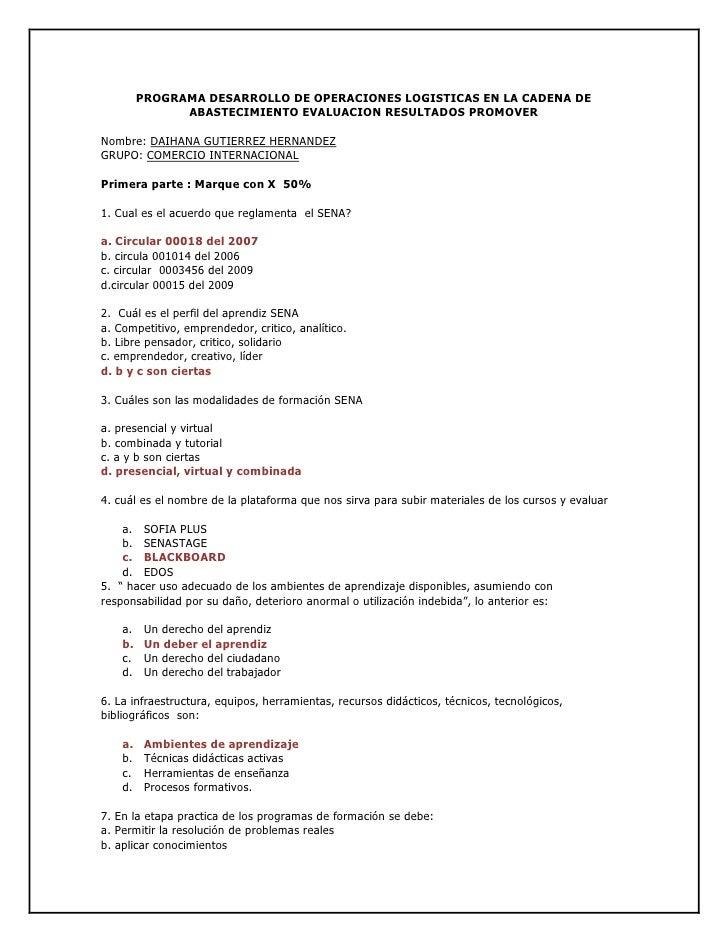 PROGRAMA DESARROLLO DE OPERACIONES LOGISTICAS EN LA CADENA DE ABASTECIMIENTO EVALUACION RESULTADOS PROMOVER<br />Nombre: D...
