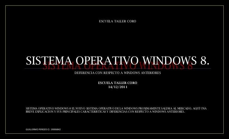 ESCUELA TALLER COROSISTEMA OPERATIVO WINDOWS 8.                                DEFERENCIA CON RESPECTO A WINDOWS ANTERIORE...