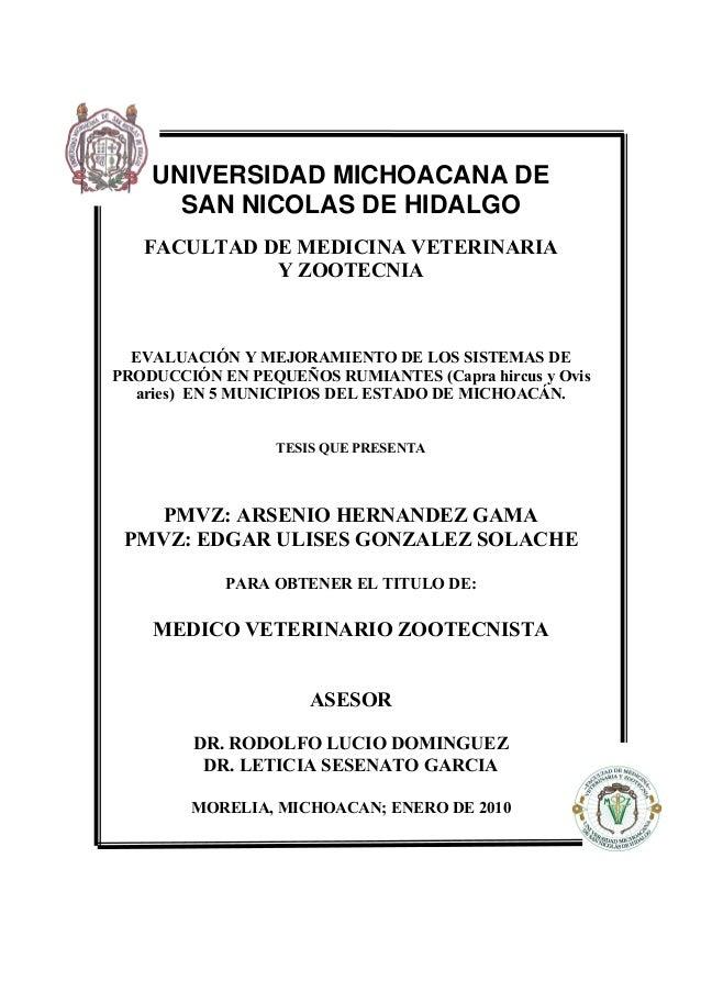 UNIVERSIDAD MICHOACANA DE  SAN NICOLAS DE HIDALGO  FACULTAD DE MEDICINA VETERINARIA  Y ZOOTECNIA  EVALUACIÓN Y MEJORAMIENT...