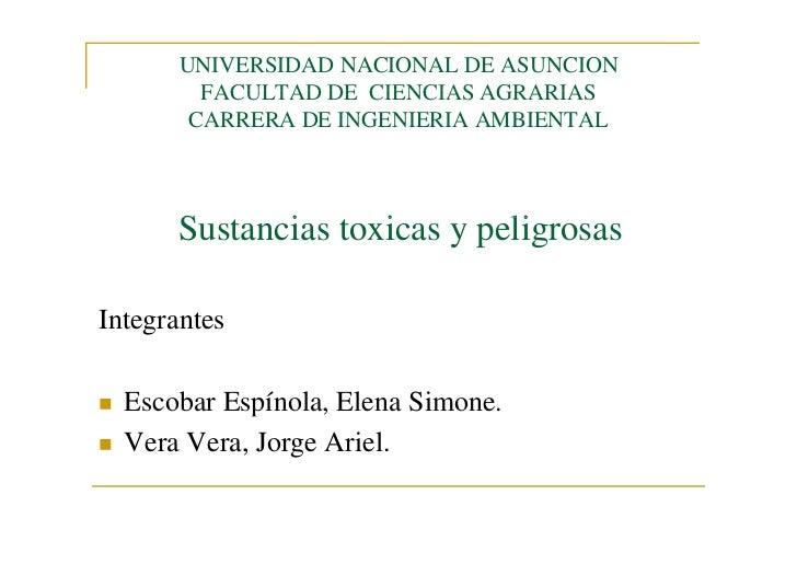 UNIVERSIDAD NACIONAL DE ASUNCION         FACULTAD DE CIENCIAS AGRARIAS        CARRERA DE INGENIERIA AMBIENTAL      Sustanc...