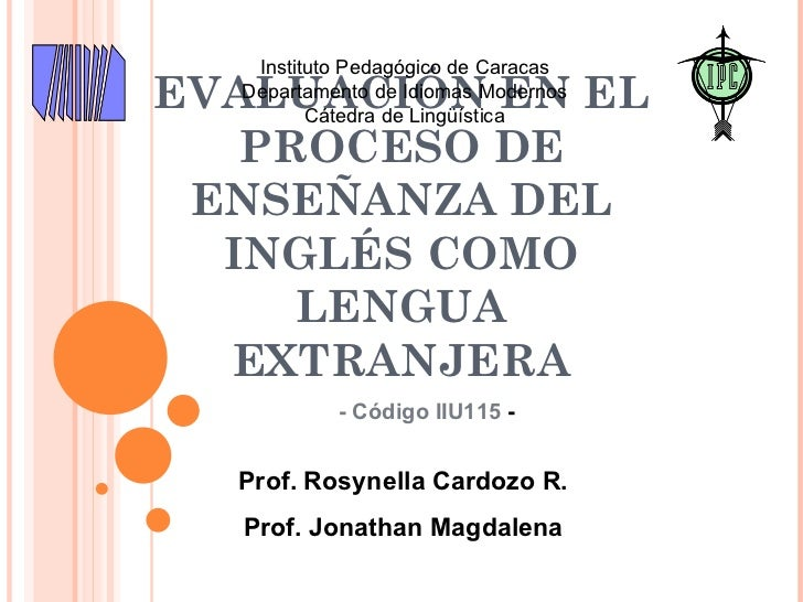 Evaluación ILE (Introduction to the course - Preliminaries)