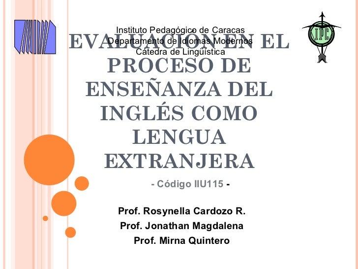 Evaluacón ILE Introduction to the course - Preliminars