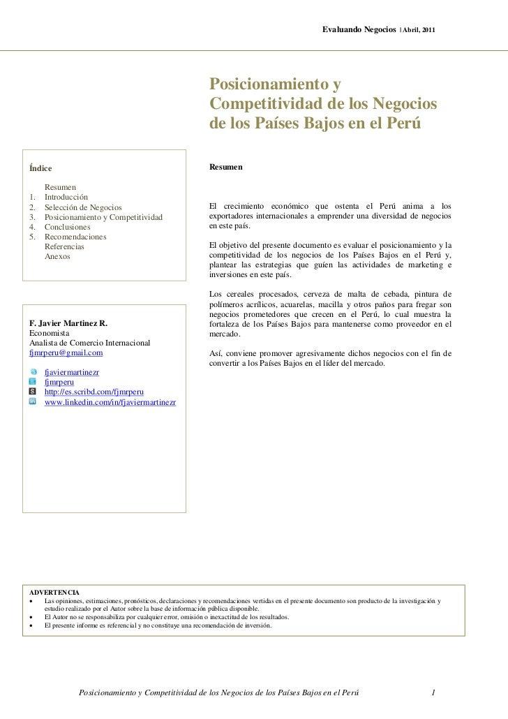 PREMILINAR - Posicionamiento y Competitividad de los Negocios de los Paises Bajos en Peru