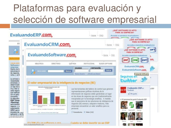 Plataformas para evaluación y selección de software empresarial<br />
