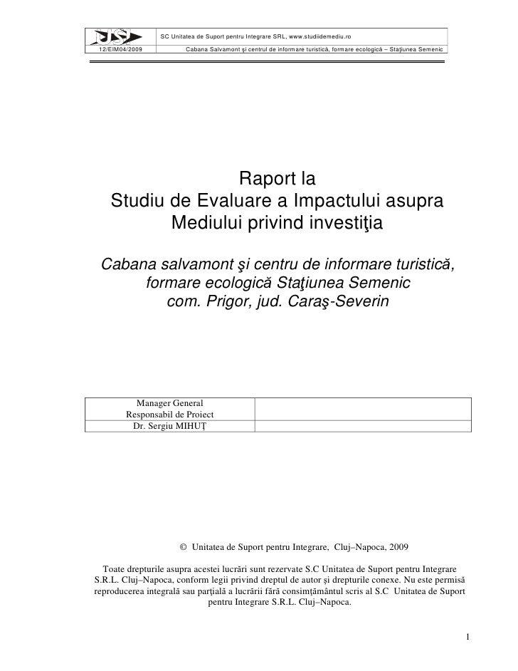 Raport la Studiu de Evaluare a Impactului asupra Mediului