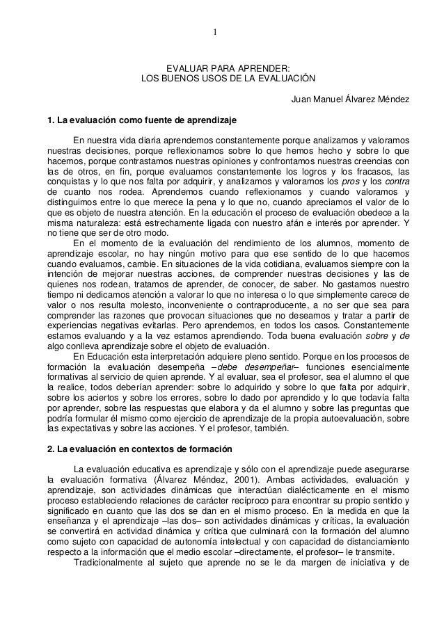 1                            EVALUAR PARA APRENDER:                       LOS BUENOS USOS DE LA EVALUACIÓN                ...
