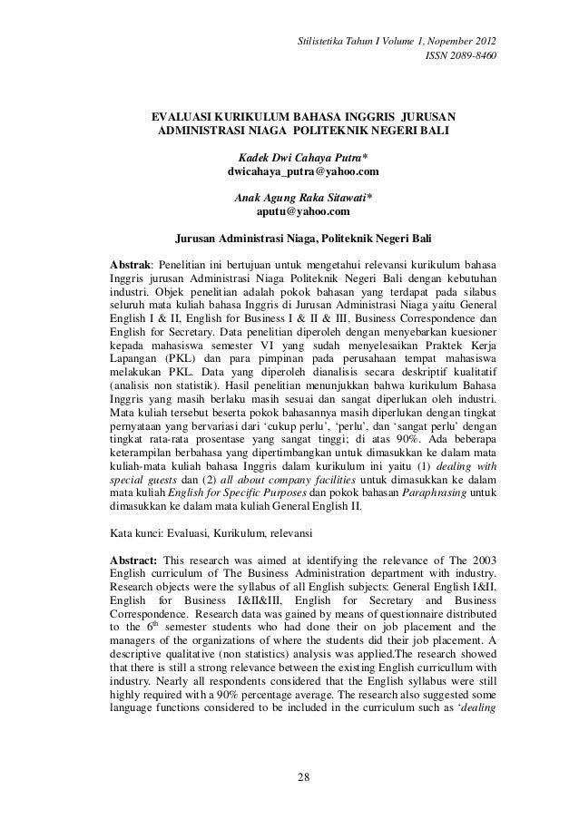 Evaluasi kurikulum bahasa inggris  jurusan administrasi niaga  politeknik negeri bali