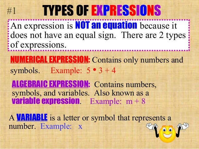 algebraic expressions Numeric expressions apply operations to numbersfor example, 2(3 + 8) is a numeric expressionalgebraic expressions include at least one variable and at least one operation (addition, subtraction, multiplication, division).