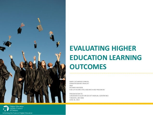 Evaluating higher education learning outcomes presentation to ces