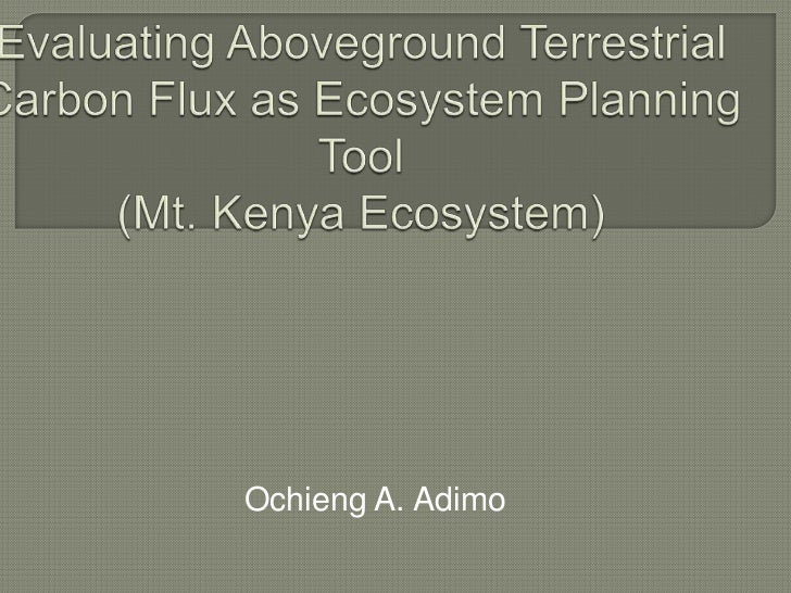 Evaluating Aboveground Terrestrial Carbon Flux as Ecosystem Planning Tool (Mt. Kenya Ecosystem)<br />Ochieng A. Adimo<br />