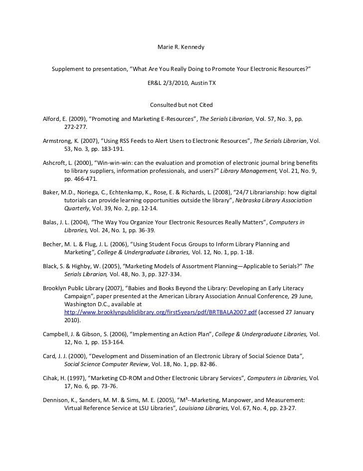 Evaluating and Marketing Electronic Resources - Kennedy supplement material