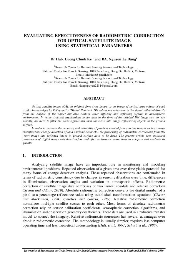 EVALUATING EFFECTIVENESS OF RADIOMETRIC CORRECTION            FOR OPTICAL SATELLITE IMAGE           USING STATISTICAL PARA...