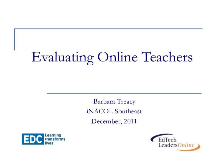Evaluating onlineteacherinacol dec2011