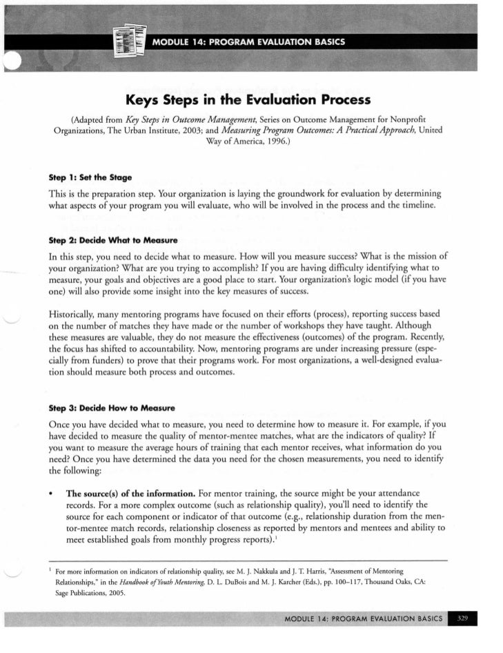 EEP Trainer's Manual Handouts: Evaluation Section