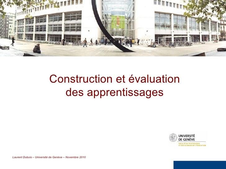 Construction et évaluation des apprentissages