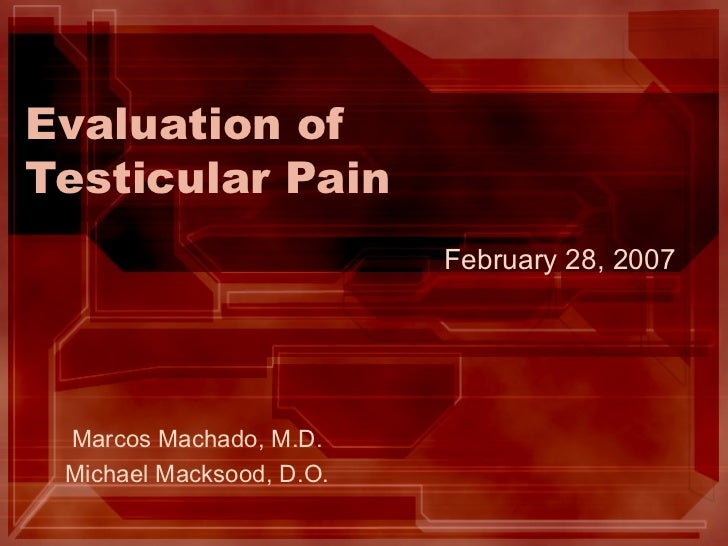 Evaluation of Testicular Pain