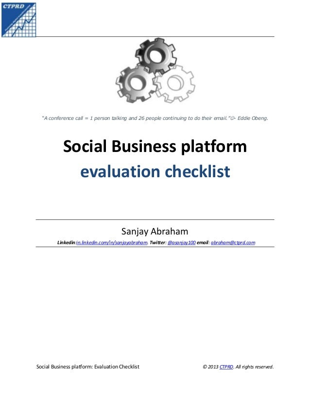 Social Business platform: evaluation checklist