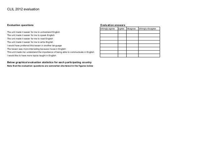 CLIL 2012 evaluationEvaluation questions                                                                  Evaluation answe...