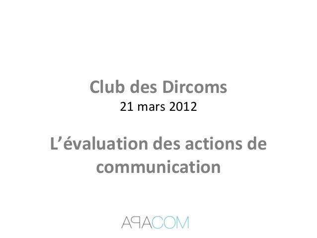 Club des Dircoms21 mars 2012L'évaluation des actions decommunication