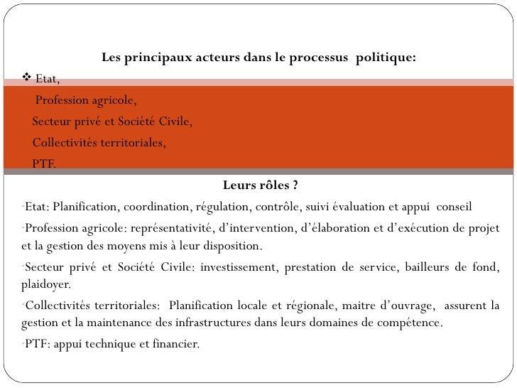 Evaluation des besoins en capacités                Les principaux acteurs dans le processuspolitique: Etat,• Profession ...
