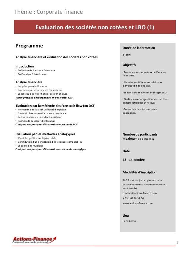 Formation Evaluation des sociétés non cotées et LBO