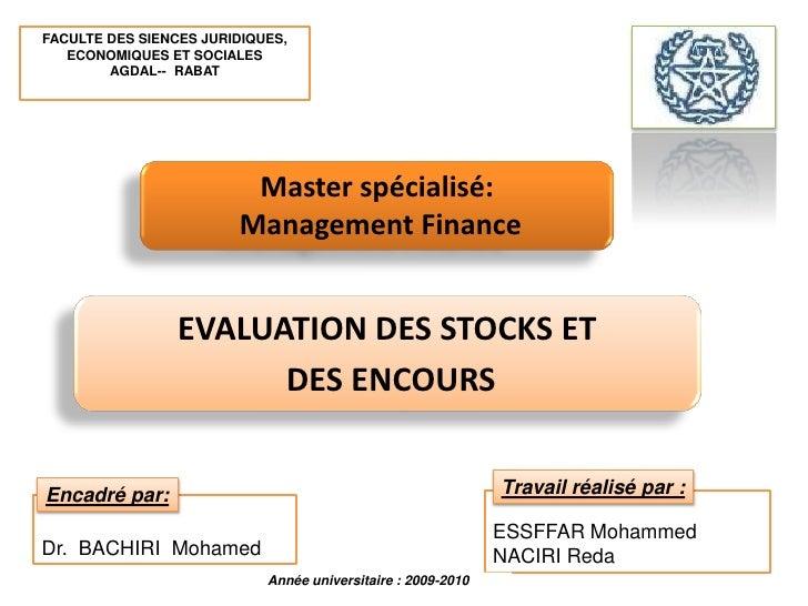 FACULTE DES SIENCES JURIDIQUES, ECONOMIQUES ET SOCIALES <br />AGDAL--  RABAT<br />Master spécialisé:<br /> Management Fina...