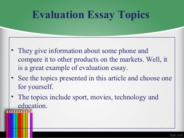 components the evaluation essay