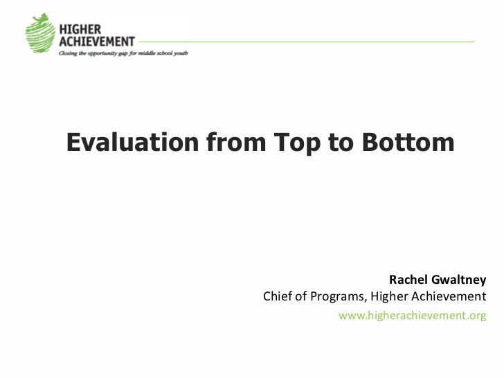 Evaluation from Top to Bottom                                    Rachel Gwaltney              Chief of Programs, Higher Ac...