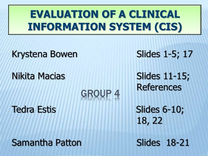Evaluation of a clinical information system (cis)