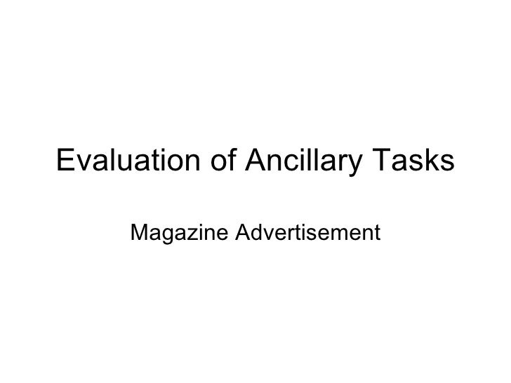 Evaluation of Ancillary Tasks Magazine Advertisement