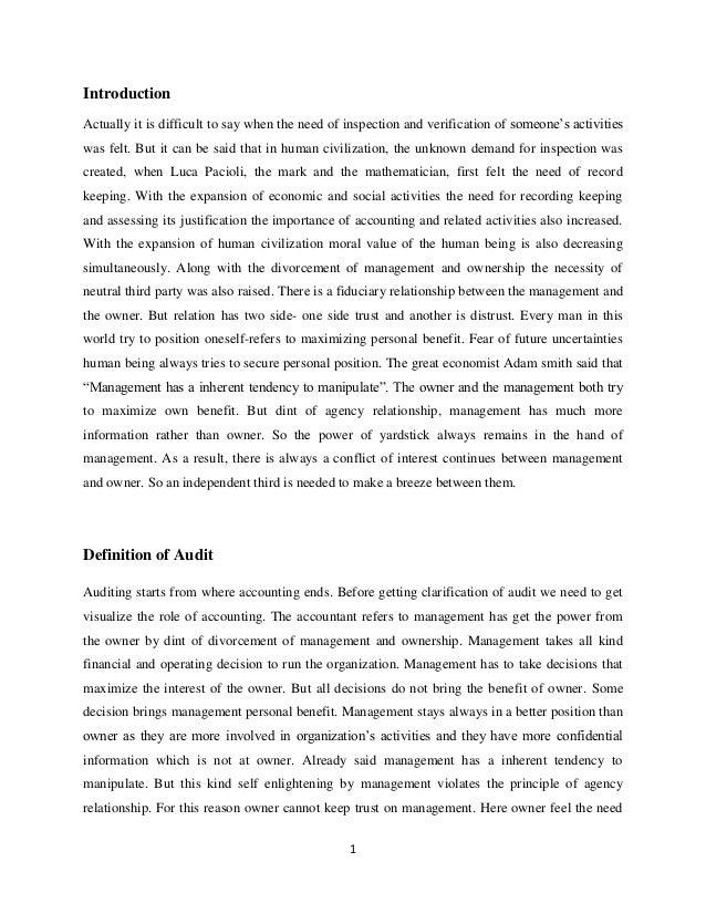 Evolution of audit profession, audit