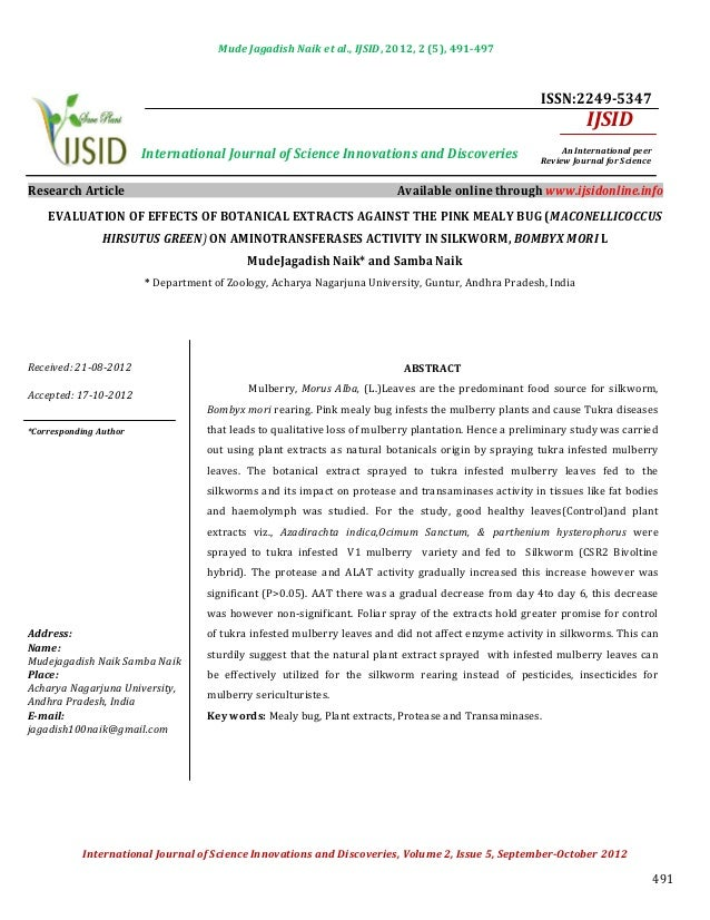 Evaluation of effects of botanical extracts against the pink mealy bug (maconellicoccus hirsutus green) on aminotransferases activity in silkworm, bombyx mori l