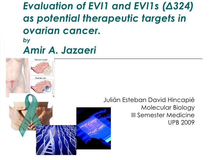 Evaluation of EVI1 and EVI1s (Δ324) as potential therapeutic targets in ovarian cancer. by Amir A. Jazaeri Julián Esteban ...