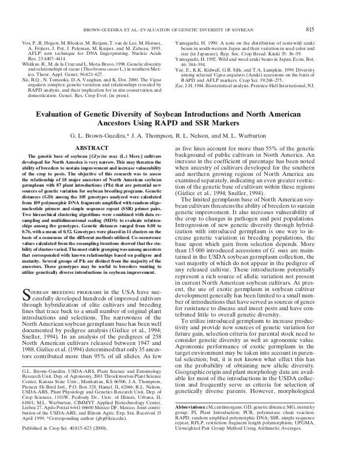 BROWN-GUEDIRA ET AL.: EVALUATION OF GENETIC DIVERSITY OF SOYBEAN                                               815Vos, P.,...