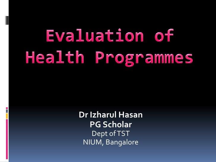 Evaluation of health programs