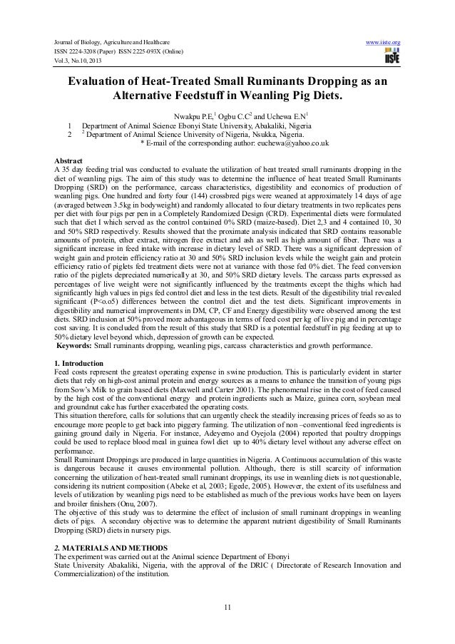 Journal of Biology, Agriculture and Healthcare www.iiste.org ISSN 2224-3208 (Paper) ISSN 2225-093X (Online) Vol.3, No.10, ...