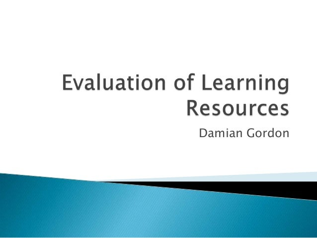 Evaluation of learning resources
